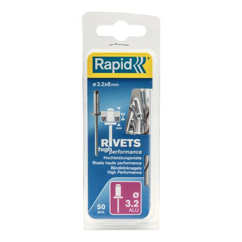 Rapid  blindklinknagel aluminium 8 x 3,2 mm - 50 stuks