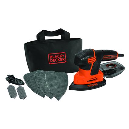Black & Decker mouse schuurmachine 120w 3 grijpzones met accessoires in softbag