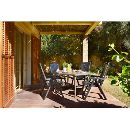 Table de jardin Jardin 'Elise' résine graphite 137 x 90 cm