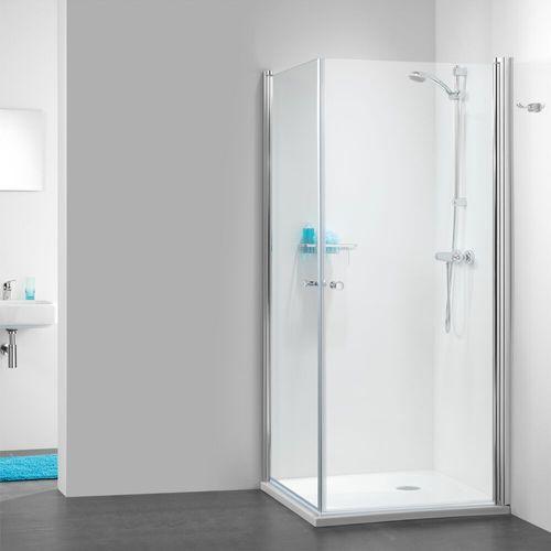 Portes de douches pivotantes accès angle Sealskin Get Wet 105 aluminium argenté poli 100x100cm|6mm verre sécurit transparent