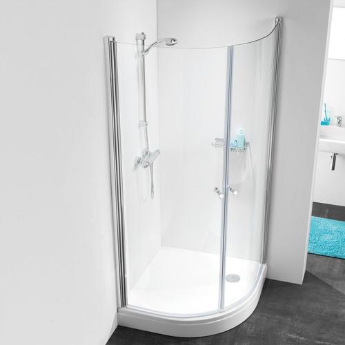 Portes de douches pivotantes 1/4 rond Sealskin Get Wet 105 aluminium argenté poli 100x100cm|6mm verre sécurit transparent