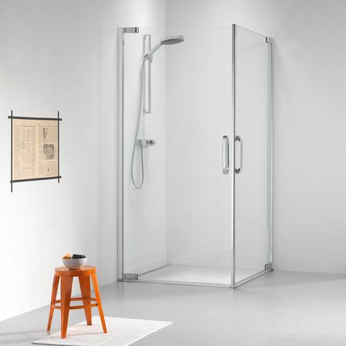 Portes de douches pivotantes pour angle Sealskin Get Wet Impact aluminium argenté poli 100x100cm|8mm verre sécurit transparent