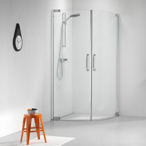 Portes de douches pivotantes quart de rond Sealskin Get Wet Impact aluminium argenté poli 100x100cm|8mm verre sécurit transparent