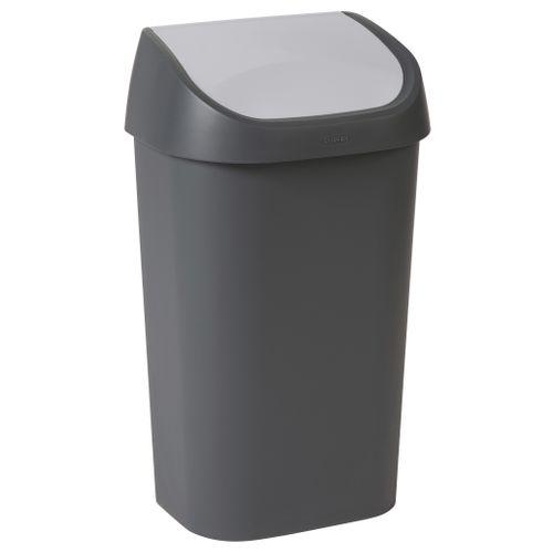 Curver vuilnisbak Mistral Swing recycled PVC antraciet lichtgrijs 50L