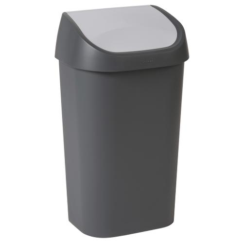 Poubelle Curver Mistral Swing 50L PVC recyclé anthracite/gris clair