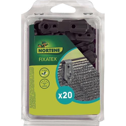 Clip de fixation Nortene 'Fixatex' gris – 20 pcs