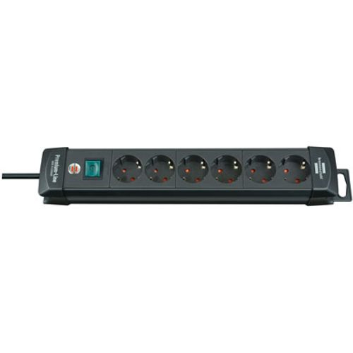 Brennenstuhl stekkerdoos premium-line 6-voudig zwart 3m H05VV-F 3G1,5