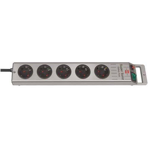 Brennenstuhl stekkerdoos super-solid line 5-voudig zilver 2,5m H05VV-F 3G1,5