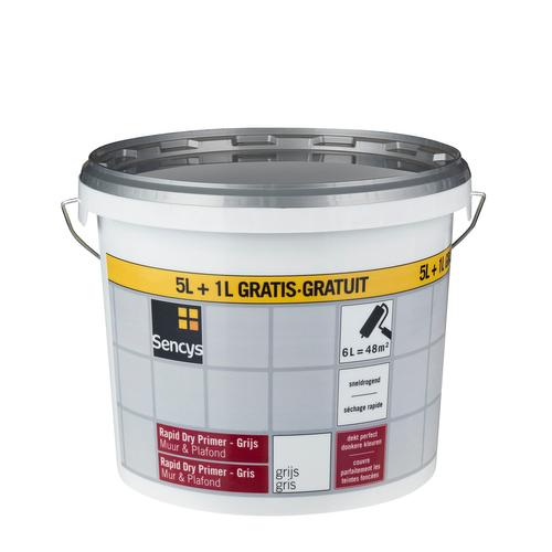 Sencys primer muur en plafond 'Rapid Dry' grijs 6 L