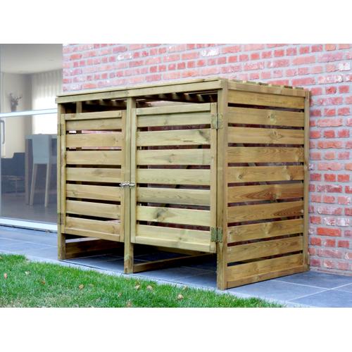 Cache poubelle double bois 120 x 150 cm