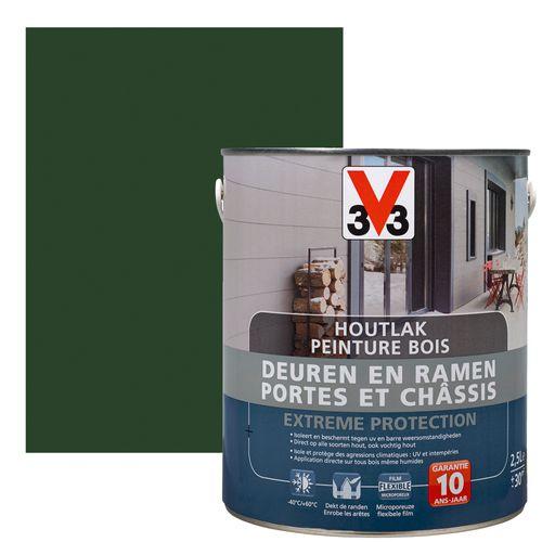 Peinture bois V33 Portes et Châssis Extreme Protection vert mousse satin 2,5L