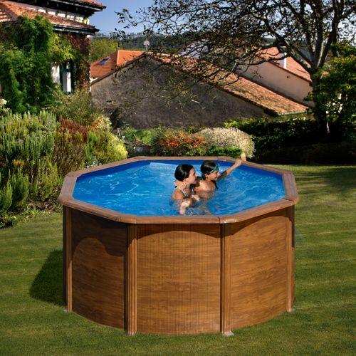 Gre rond zwembad Pacific staal houtimitatie Ø260x122cm