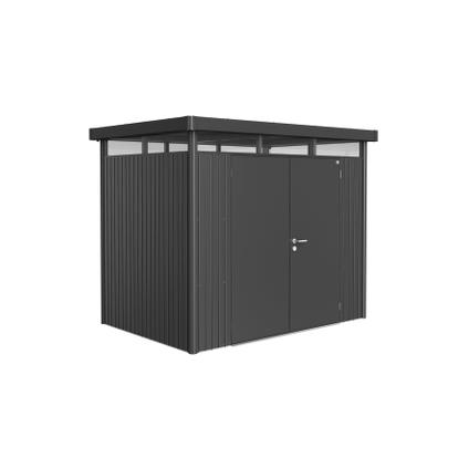 Biohort tuinhuis 'HighLine H2 dubbele deur' staal donkergrijs 4,33 m²