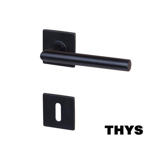 Poignées de porte avec rosaces Thys 'Modèle Square 66' inox couleur noir mat -2 pcs