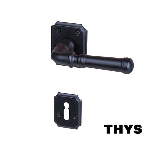 Poignées de porte avec rosaces Thys 'Modèle Retro 113' en acier noir mat -2 pcs
