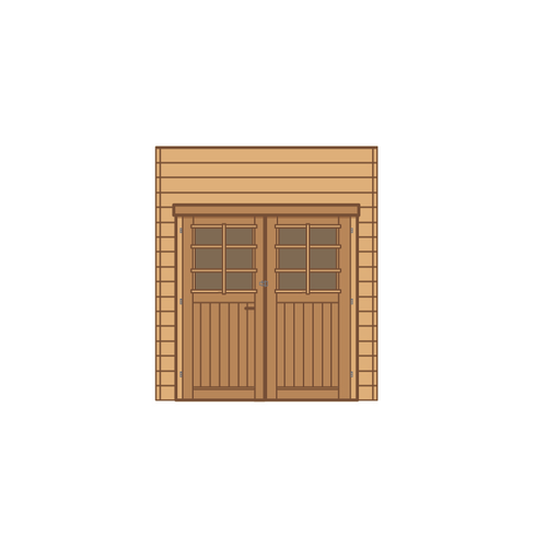 Solid voorwand met dubbele deur 'S7732' hout 210 x 240 cm