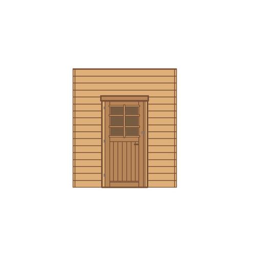 Solid voorwand met enkele deur 'S7733' hout 210 x 240 cm