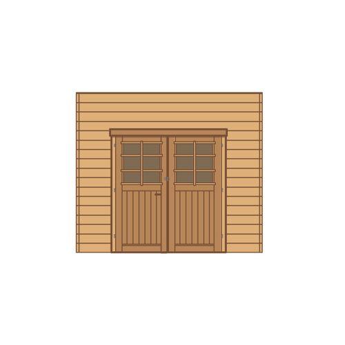 Solid carport voorwand S7735 dubbele deur 270x255cm