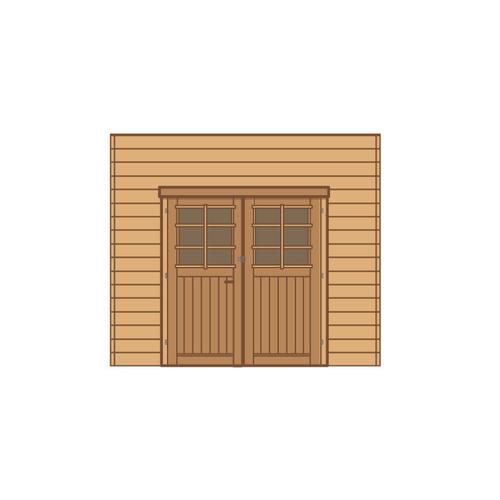 Solid voorwand met dubbele deur 'S7735' hout 270 x 255 cm