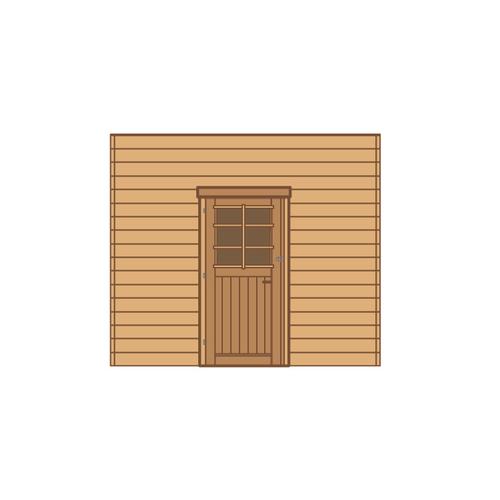 Solid voorwand met enkele deur 'S7736' hout 270 x 255 cm
