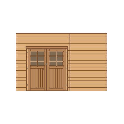 Solid voorwand met dubbele deur 'S7739' hout 390 x 245 cm