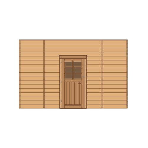 Solid voorwand met enkele deur 'S7740' hout 390 x 245 cm