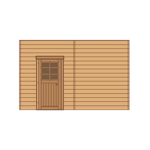 Solid voorwand met enkele deur 'S7741' hout 390 x 245 cm