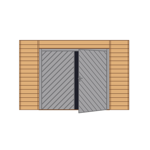 Solid voorwand met dubbele garagedeur 'S7742' hout 390 x 245 cm
