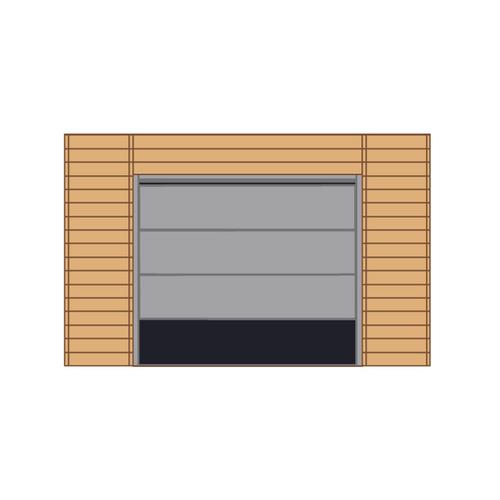 Solid voorwand met sectionale garagedeur 'S7743' hout 390 x 245 cm