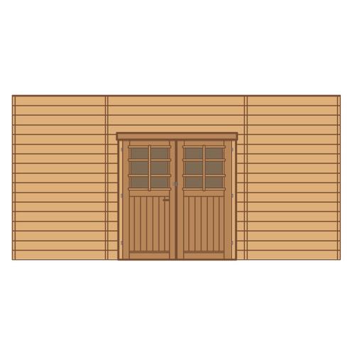 Solid voorwand met dubbele deur 'S7745' hout 480 x 245 cm