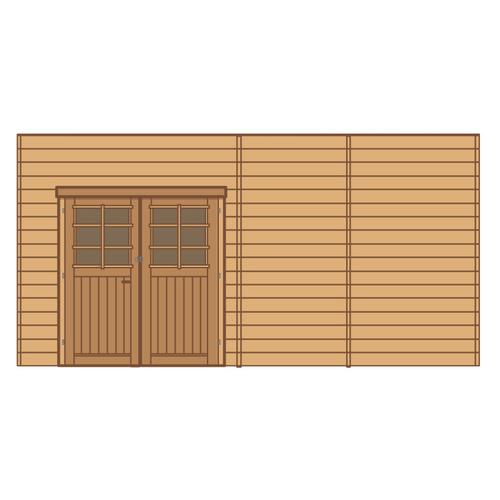 Solid voorwand met dubbele deur 'S7746' hout 480 x 245 cm