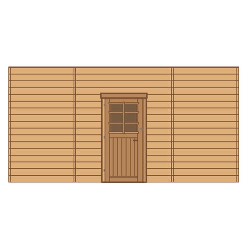 Solid voorwand met enkele deur 'S7747' hout 480 x 245 cm