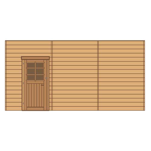 Solid carport voorwand S7748 enkele deur links 480x245cm
