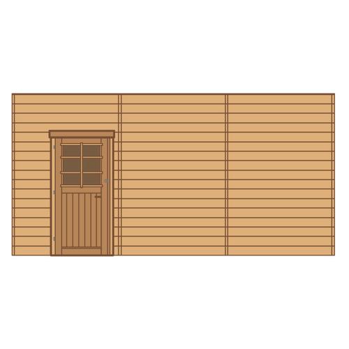 Solid voorwand met enkele deur 'S7748' hout 480 x 245 cm