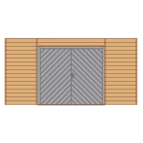 Solid voorwand met dubbele garagedeur 'S7749' hout 480 x 245 cm