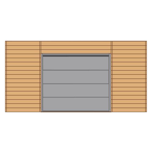 Solid voorwand met sectionale garagedeur 'S7750' hout 480 x 245 cm