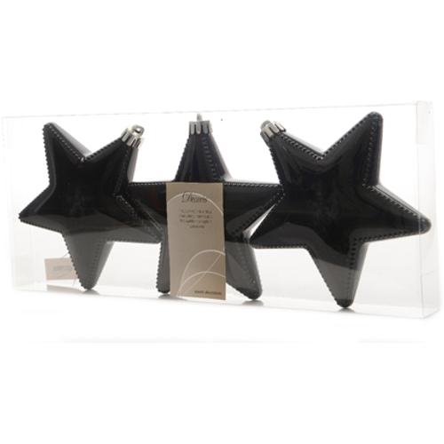 Set van kerstballen 'Ster' plastic zwart 12 cm - 3 stuks