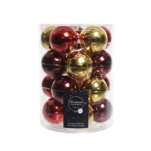 Boules de Noël Decoris rouge/or brillant Ø6cm 20pcs