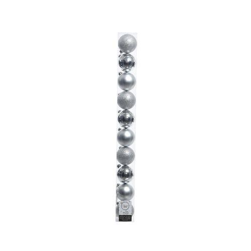 Boules de Noël argentées mattes/brillante/avec paillettes 10 pièces