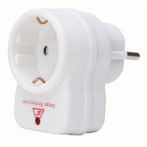 Kopp adapter randaarde + overspanningsbeveiliging wit 2st.