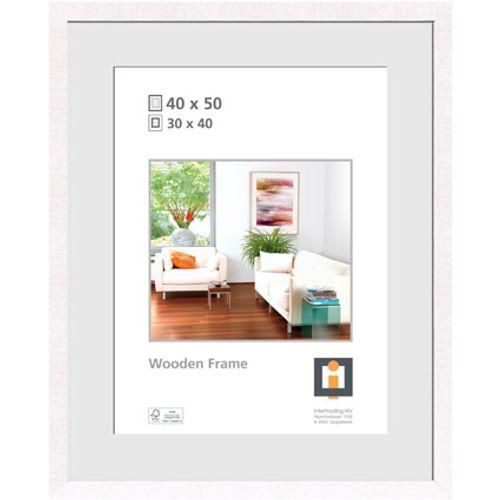 Cadre photo Intertrading 'Sydney' bois blanc 40 x 50 cm