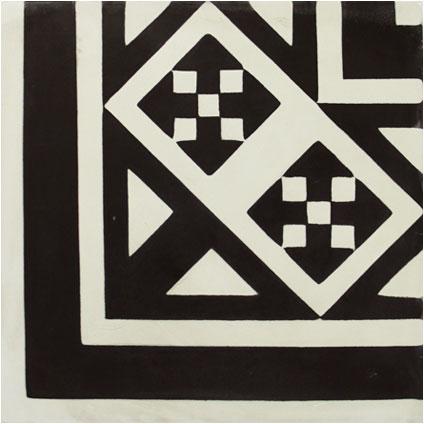 Vloertegel Marrakech hoekdecor zwart 20x20cm