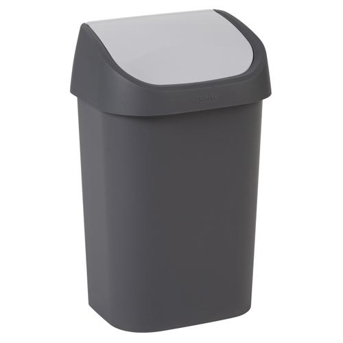 Poubelle Curver Mistral Swing 25L PVC recyclé anthracite/gris clair