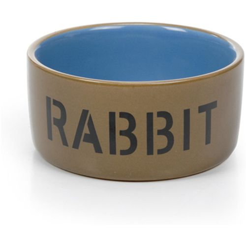 Beeztees keramiek konijnenbakje met tekst: rabbit beige, blauw