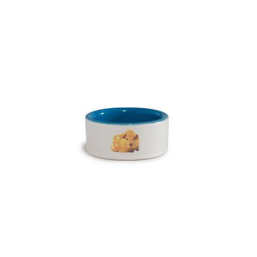 Beeztees keramiek hamsterbakje met tekst: hamster beige, blauw