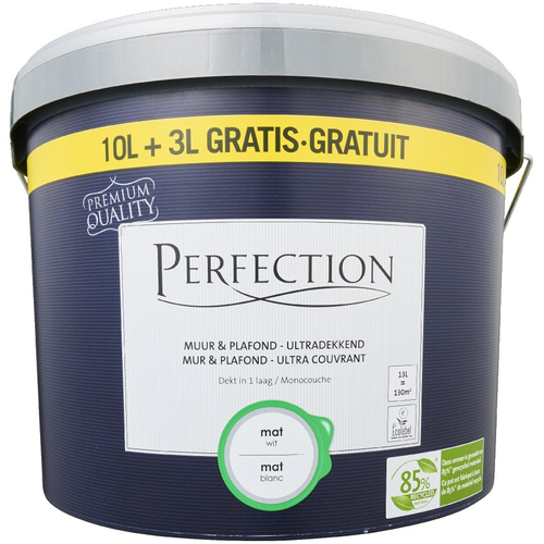 Perfection latex verf 'Muur & Plafond Ultra Dekkend' wit mat 13L