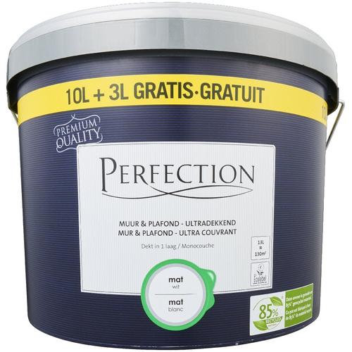 Perfection latex verf 'Muur & Plafond Ultra Dekkend' wit mat 13L