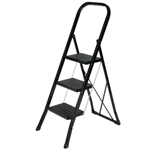 Escalo huishoudladder Escalo 'Color Step' gelakt zwart staal 3 treden