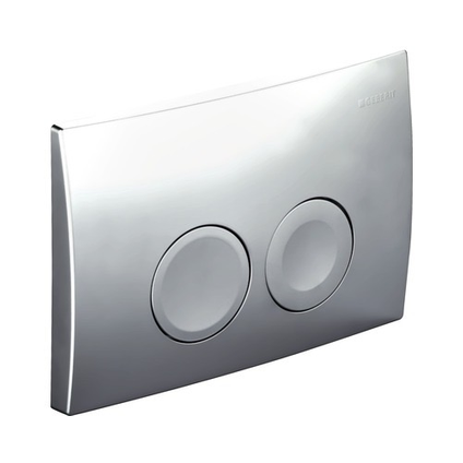Plaque de commande Geberit Delta 2 touches chromé mat 16,4x24,6cm