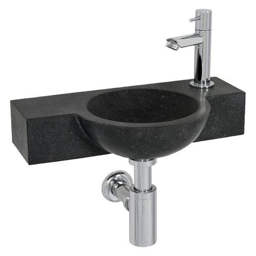 Lave-mains Aquazuro Stirone pierre naturelle noir 40cm